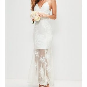 Missguided Bridal White Strappy Lace Dress, size 4
